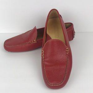 🇺🇸 Lands End EUC red flat leather loafer 11